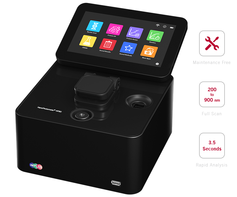 implen, nanophotometer, spectrophotometer, nanodrop alternative, nano drop, NP80 spectrophotometer